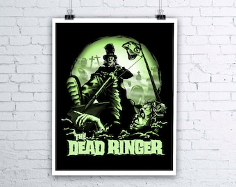 Dead Ringer Halloween Giclee Fine Art Print - Various sizes available - Zombie Art Grave Digger Illustration Halloween Wall Art Zombie Print