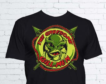 The Gruesome Gill-Men T Shirt - Creature from The Black Lagoon Shirt Universal Monsters Gillman Horror Shirt - Available in Mens & Ladies