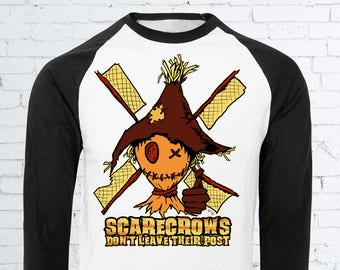 Scarecrows Don't Leave Their Post Baseball Shirt - Autumn Fall Halloween Scarecrow Windmill Horror Clothing Horror Shirt Scarecrow Shirt