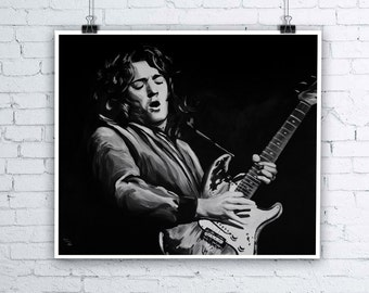 Rory Gallagher Painting - Giclee Fine Art Print - Various sizes available - Irish Blues Rock Star Irish Musician Portrait Music Wall Art