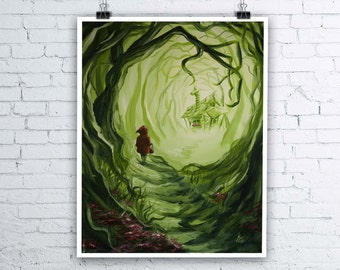Heart of the Woods - Little Red Riding Hood inspired Giclee Fine Art Print - Various sizes available - Fairytale Wall Art Halloween Prints