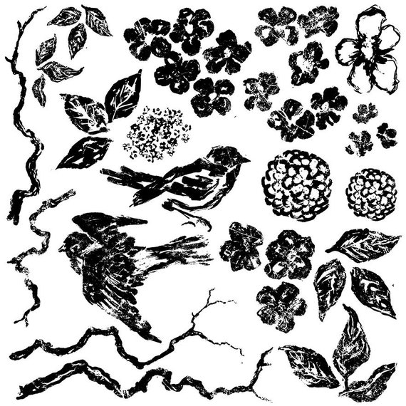 Birds, Branches, Blossoms Stamp by Iron Orchid Designs