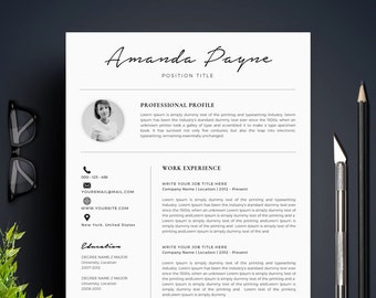 Resume Template with Photo / CV Template + Cover Letter | Instant Download | Teacher Resume | Professional and Creative Resume l With Photo
