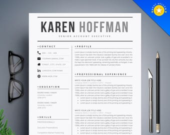 resume template cv template cover letter instant digital download teacher resume professional and creative resume l black white