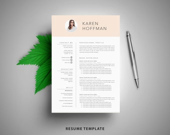 Resume Template With Photo / CV Template + Cover Letter | Instant Digital Download | Teacher Resume | Professional and Creative Resume
