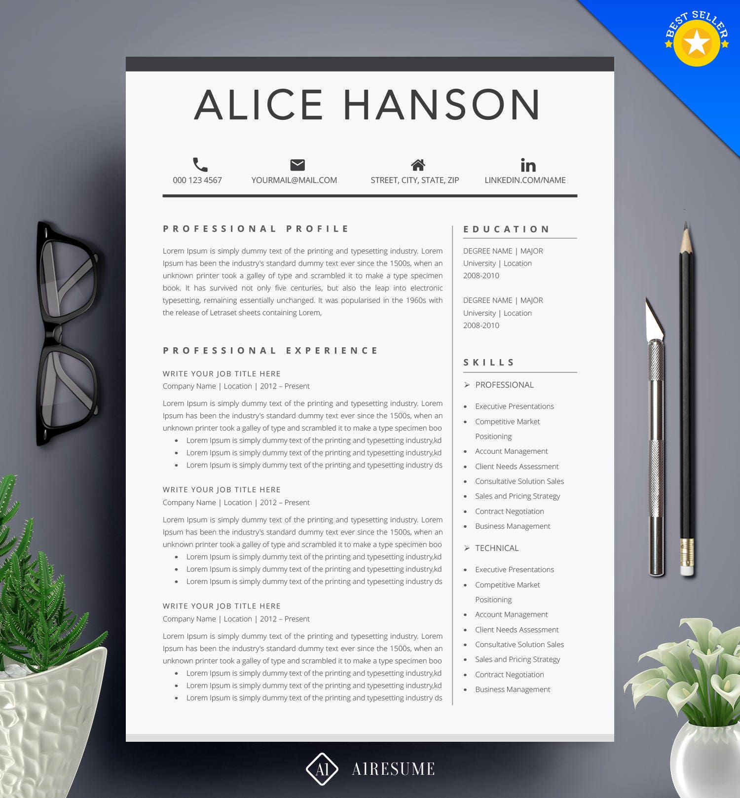 Resume Template / CV Template + Cover Letter for MS Word | Professional and Creative Resume Design | Teacher Resume | Instant Download