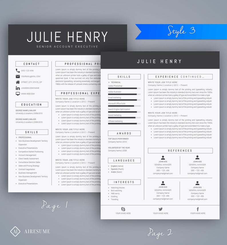 Instant Download Creative Resume Design Ms Word Resume Cover Letter Teacher Resume Modern Resume Template Cv
