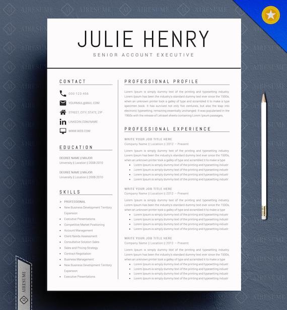 Modern Resume Template / CV Template Cover Letter   Etsy