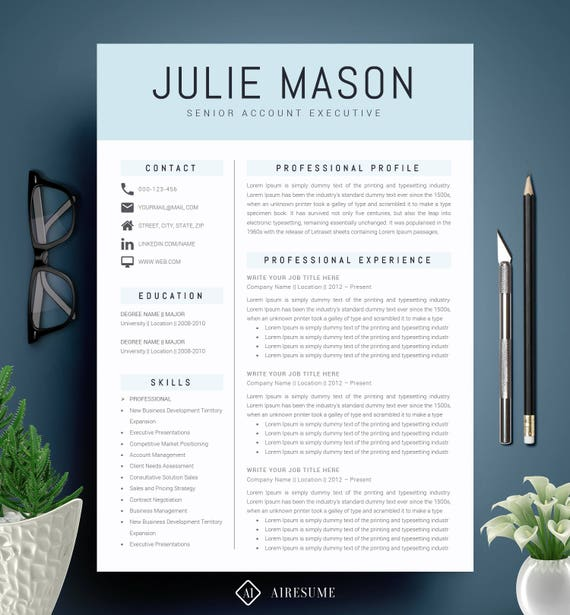 Modern Resume Template / CV Template + Cover Letter | Creative Resume  Design | Teacher Resume | MS Word Resume | Instant Download