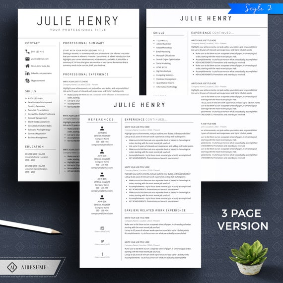 Modern Resume Template and Cover Letter, CV Template, Professional and  Creative Resume, Teacher Resume, Nurse Resume, Resume Template Word