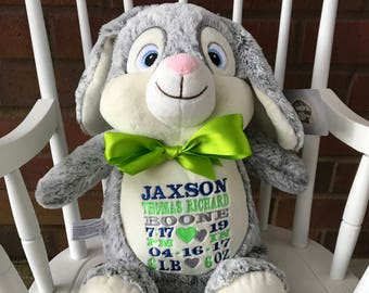 Personalized Bunny Cubby, Baby Gift, Birth Announcement, Easter Bunny ,Stuffed Animal, Newborn, Personalized, Plush Bunny, Easter  Bunny