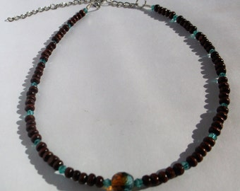 Brown Bead Choker Necklace, Wood Bead Choker with Amber & Turquoise  Czech Crystal Stone