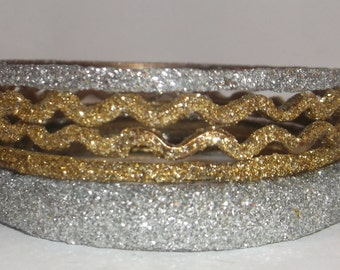 Shimmer Glitter Bangle Bracelets, 5 Glitter Fashion Bracelets
