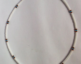 White Choker Necklace, Indian Inspired Bead Choker