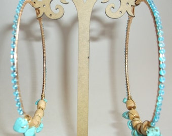 Turquoise Stone & Wood Beads Hoop Earrings Beaded Large 3 Inch Wide Hoop Earrings, Statement Hoop Earrings, Handmade Fashion Accessories
