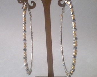 Large Silver & Gold Hoop Earrings Beaded Handmade Jewelry Accessories, 3 Inch Wide Hoop Earrings, Handmade Fashion Earrings