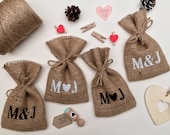 "Small Personalised Hessian Burlap Wedding Party Gift Favour Bags Pouches W9 x H15cm (3.5"" x 6"")"