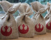 "Small Rustic Hessian Burlap Star Wars Rebel Alliance Sci-Fi Geek Chic Wedding Party Gift Favour Bags Pouches W9 x H15cm (3.5"" x 6"")"