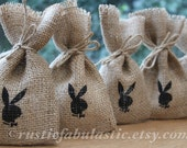 "Small Rustic Hessian Burlap Easter Playboy Bunny Wedding Party Gift Favour Bags Pouches W9 x H15cm (3.5"" x 6"")"