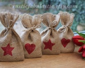 Small Rustic Hessian Burlap Wedding Baby Shower Valentine's Christmas Party Gift Favour Bags With Small Red Hearts & Stars W9 x H15cm