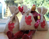 Small Rustic Hessian Burlap Marvel's Iron Man Geek Comic Book Wedding Birthday Party Gift Bags Pouches W9 x H15cm (3.5