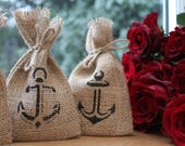 "100 x Small Rustic Hessian Burlap Nautical Helms Anchors Wedding Party Gift Favour Bags Pouches W9 x H15cm (3.5"" x 6"")"
