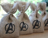 Small Rustic Hessian Burlap Marvel's Avengers Geek Chic Wedding Birthday Party Gift Bags Pouches W9 x H15cm (3.5