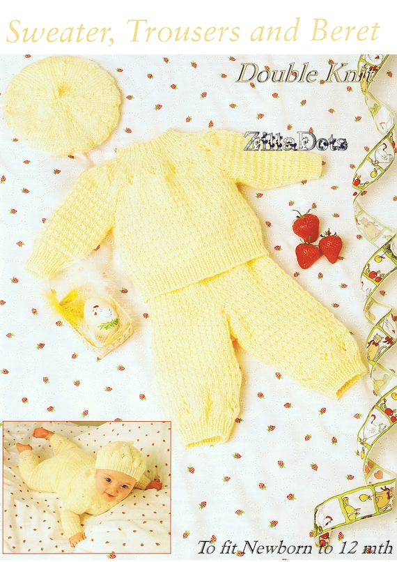 to fit chest 41-46 cm. 6 ply yarn Baby Knitting Pattern PDF Download