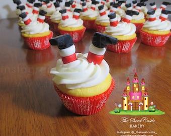 Edible Christmas Santa Claus Cupcake Toppers (12 Pairs)