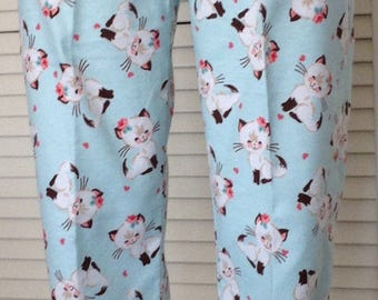 e007603a3 Retro cat print on light turquoise background flannel pajama pant