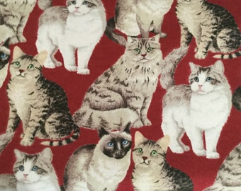 Realistic looking cats on red background flannel pajama pant 78808a88f