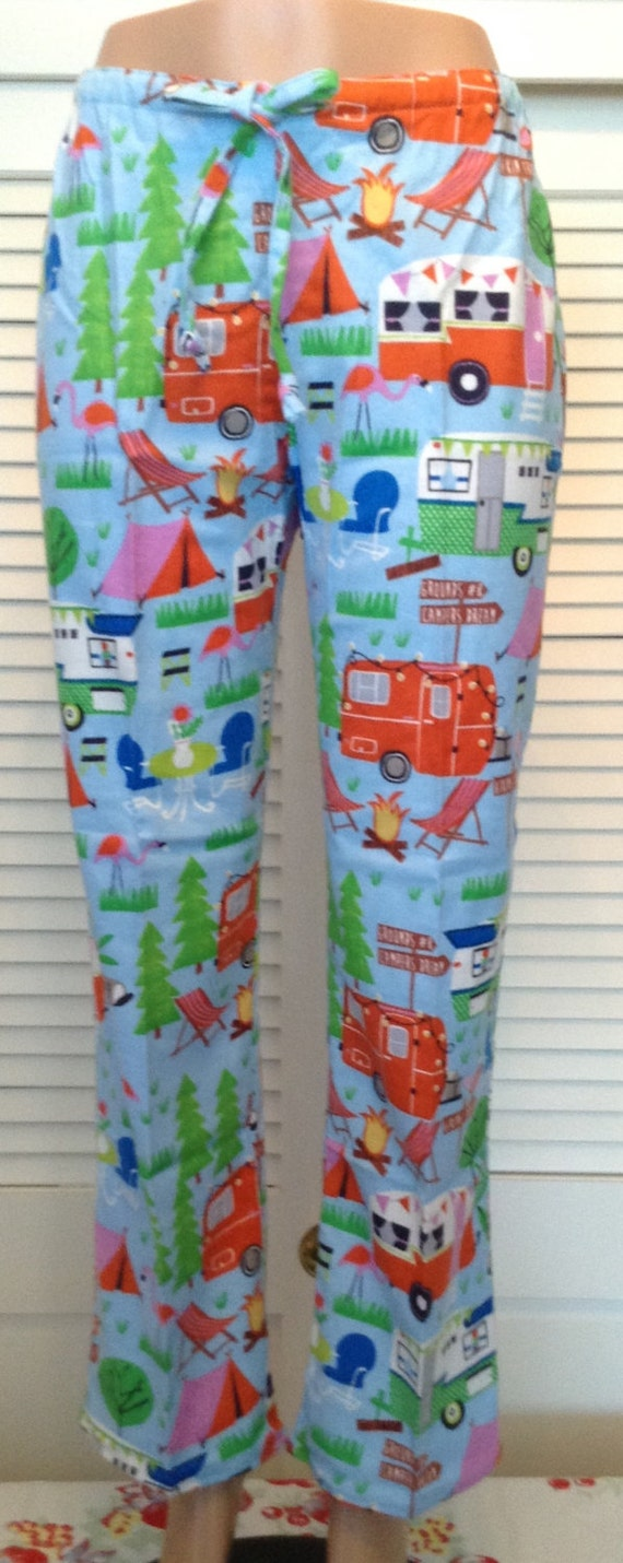 Camping scene on blue background flannel pajama pants   Etsy