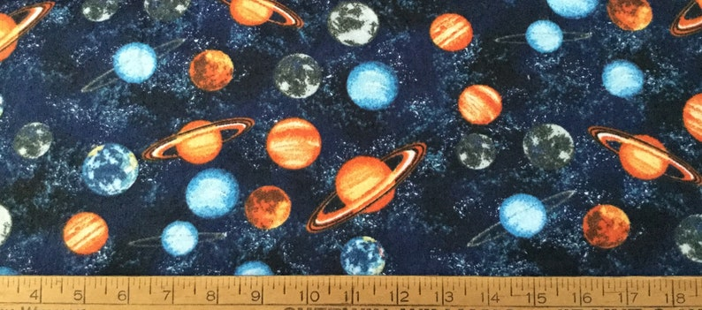Planets in outer space on navy blue background flannel pajama pant for men