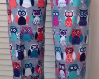 Owls on gray background flannel pajama pant