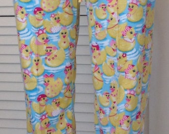 Yellow ducks on blue background flannel pajama pant