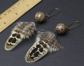 Agate earrings with pheasant feather Tribal jewelry Ethnic earrings  Dangle earrings Gift for her Womens gift Native American style Gemstone
