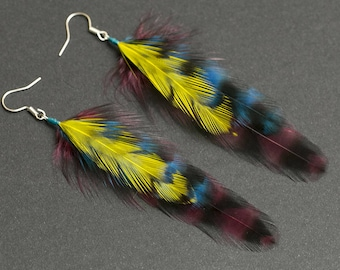 Fairy garden accessories Feather earrings Ibiza feathers Fairy earrings Boho earrings Lightweight earrings Handmade jewelry Dangle earrings