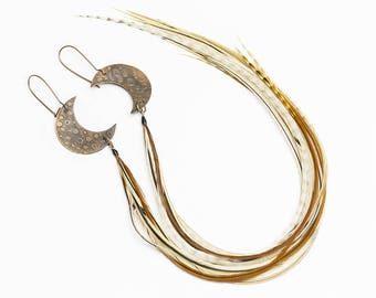 Moon earrings Crescent moon earrings Celestial jewelry Copper earrings with long feathers Bohemian jewelry Half moon earrings Celestial moon