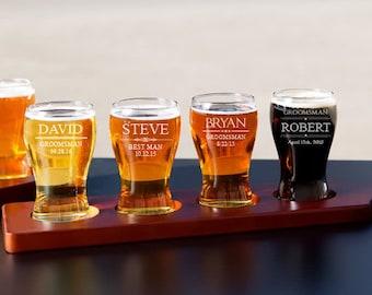 Personalized Beer Flight Set, Beer Flight Paddle, Beer Sampler, Groomsman Gift, Husband Gift, Beer Gift, Beer Tasting Tray