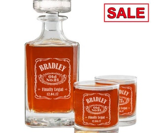 21st Birthday Whiskey Decanter Personalized Set Engraved And Glasses Gift For Him