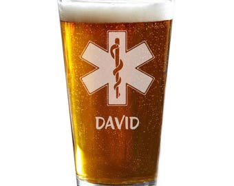 EMT Pint Glass, Firefighter Beer Glasses, Engraved Beer Glass, EMT, Firefighter, Beer Gift