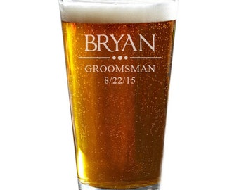 Personalized Pint Glasses, Custom Pint Glasses, Etched Pint Glass, Wedding Gift, Anniversary Gift, Family Name Beer Glass
