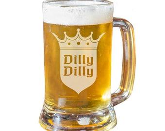 Beer Mug Dilly Dilly, Personalized Beer Mug, Groomsmen Beer Mug, Husband Gift, Boyfriend Gift, Beer Glass