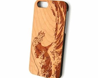 Great Wave iPhone 7 case wood, iPhone 6s plus case, Wood iPhone 6s case, Galaxy S6 wood case, Engraved iPhone 6 plus case