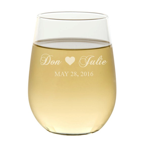Stemless Wine Glasses Etched Wine Glasses Wedding Favors Etsy