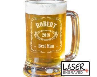 Groomsmen Beer Mug, Personalized Beer Mug, Custom Beer Mug, Engraved Beer Mug, Groomsmen Gift, Best Man Mug
