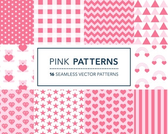 Pink Digital Paper Cute Vector Seamless Patterns for Invitations, Scrapbooking, Cardmaking, Stationary & Crafts