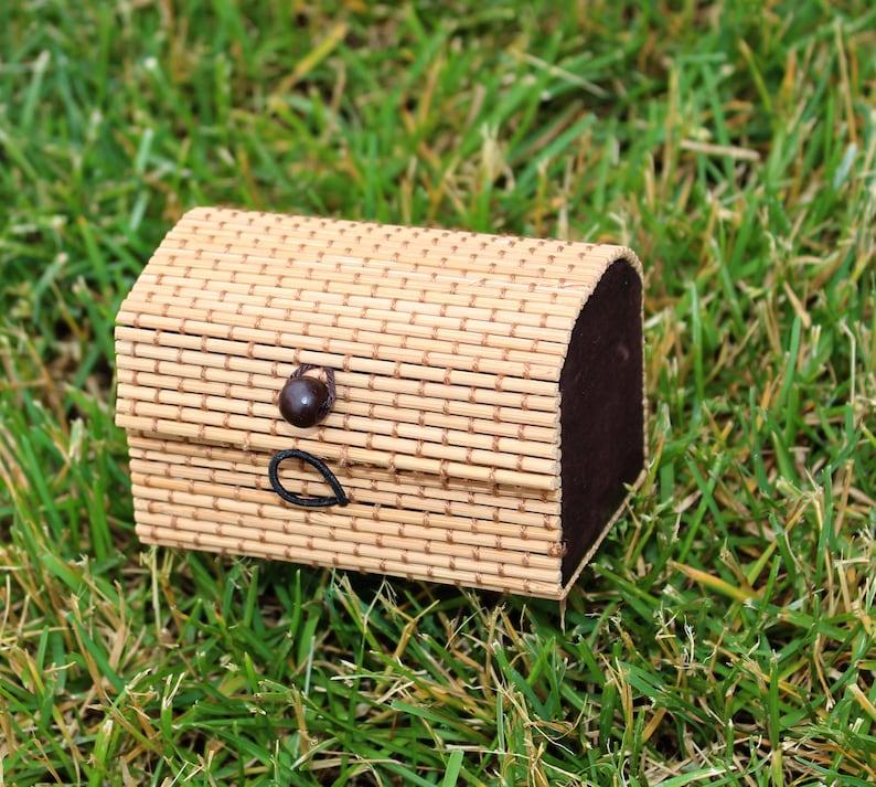 JewelryBox Handmade Box Keepsake box trinket box Fairtrade  2 Gift Boxes India Jute Made With Recycle Made By Indian Artisan Bamboo box  USA