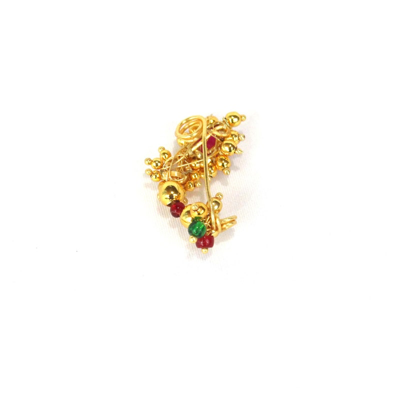 Gold nath Indian nath|Nath Nose stud 1 gram Gold nose clip on Maharashtrian Bollwood jewelry Nonpirecing nose ring pearl light Noseclip