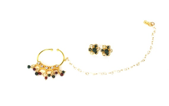 Gold Nath Nose Hoop Bridal Wear Indian Wedding Accessories Etsy